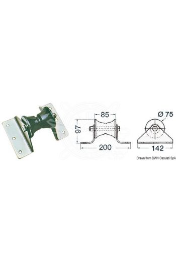 Large bow roller for dolphin strikers (Recess-fit width: 85 mm, Spare sheave: 01.219.95)