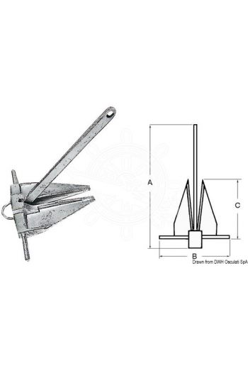 DANFORTH traditional anchor (Weight in kg: 9, A: 550 mm, B: 400 mm, C: 280 mm)