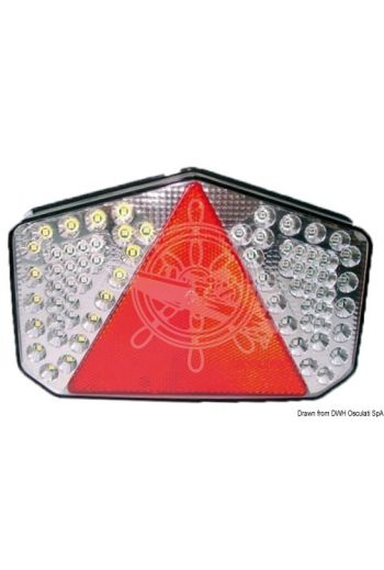 Rear LED light with triangular reflector