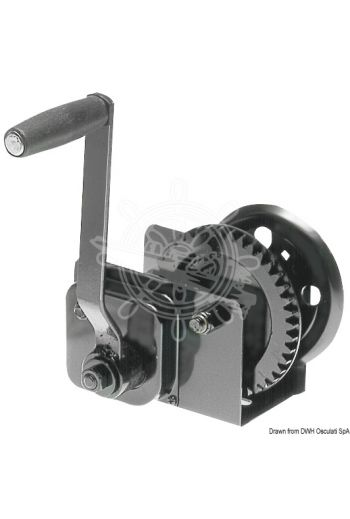 Boat haulage winch with clutch (Max pull: 630 kg, Ratio: 4.1:1, Max capacity: 22 (Ø 5 mm) m, Measures: 165x92 mm)