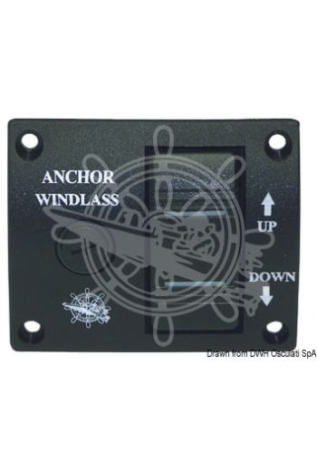 Windlass control panel with toggle switch (Measures: 75x62 mm, Fuse: 6x32 (glass))