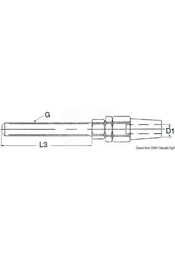 Terminals for fitting into tensioners with right metric screw threads