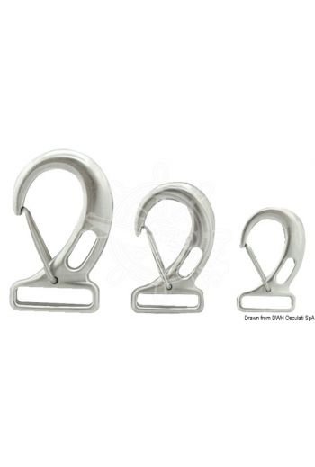 Snap-hooks with rectangular eye for webbing, made of stainless steel