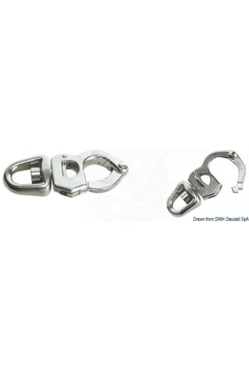 Snap-shackles for sheets, halyards and spinnakers, made of stainless steel