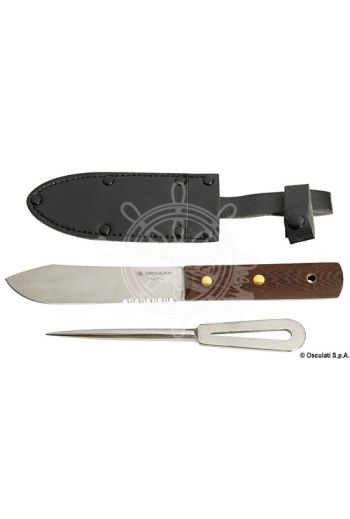 Knife + fid in leather cover (Handle colour: Wood, Blade: 131 mm, Length when closed: 240 mm, Length when open: 230 mm, Weight in g: 220)