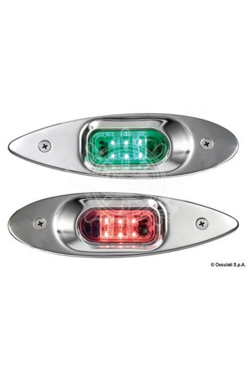 Evoled Eye low consumption LED navigation lights made of mirror-polished stainless steel for built-in bulkhead (Type: + 112.5° left + 112.5° right, volt: 12, Length: 197 mm, Height: 60 mm, Depth: 23 mm, Recess hole: 70x3)