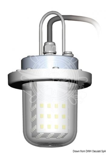 """Fish Attractor LED light (V: 10-30, LED: 123 """"2835"""", W: 60, W equivalent: 330, Current draw A: 4, Measures: Ø 79,3 x 129 mm)"""