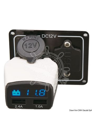 Battery monitors + USB outlet (Description: Battery monitor + USB outlet, V: 12)