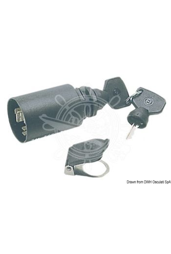 Watertight ignition key IP65 (Positions: 0 (removable key) +1 (contact) 2 (return spring ignition) +left additional function of 0, Amp: 30, )