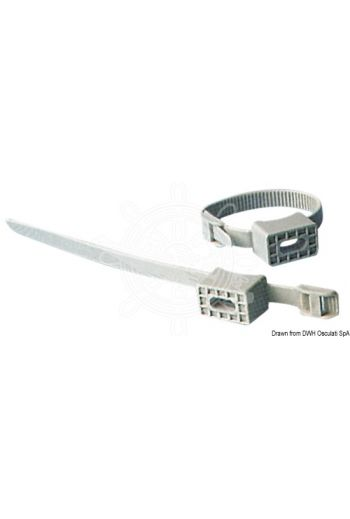 Hose clamp (Description: Universal adjustable pipe holder strap; for rigid or flexible pipes.)