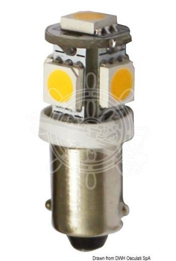 LED bulb for lights, courtesy lights and navigation lights, BA9S screw