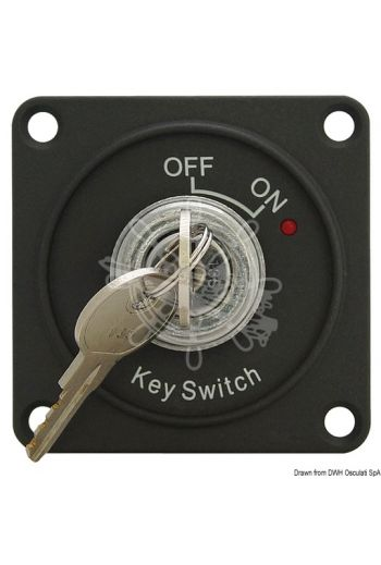 ON-OFF switch with key (Volt: 12, Measures: 69x69x45 mm)