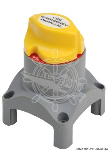 Dual operation voltage-sensible switch and emergency parallel (V: 12/24, Max capacity - intermittent: 455 A, Max capacity - in continuous: 275 A, Measures: 67x67x95)