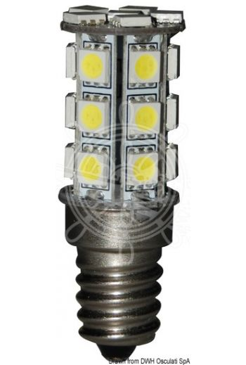 LED SMD light bulb with E14 connection (V: 12/24, W: 3,2, W equivalent: 20, lumen: 260, K: 2700, Ø D: 19 mm, L: 56 mm)