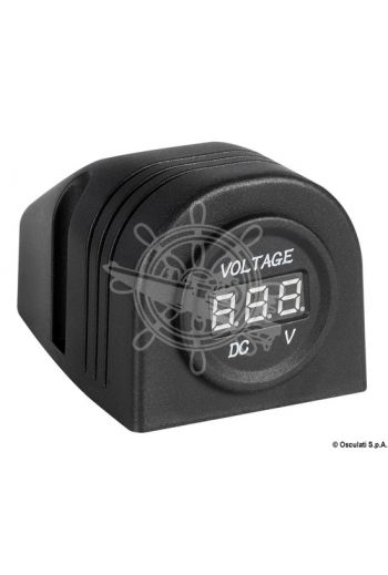 Digital voltmeter and power outlet for flat mounting
