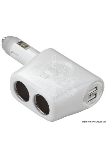 Double socket + double USB (Description: Power splitter + 2 USB plugs with blue LED warning light. White plastic)