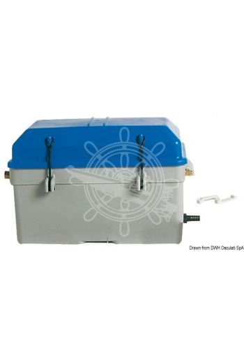 Battery box, watertight with ventilation (Made of: Grey/blue moplen, For batteries max A·h: 100, Measures: 360x185x220h, Measures: 420x245x270h)