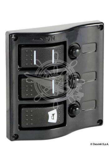 Electric control panel with flush rocker switches