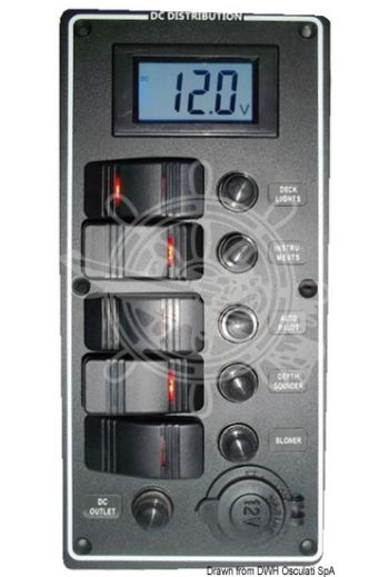 Electrical panel PCAL series with 9/32V digital voltmeter (Switches: 1st = 3 positions for circuits (navigation lights) ON1 + ON2 + OFF; 2nd/3rd/4th = ON-OFF; 5th = temp)
