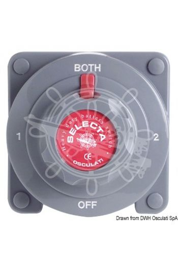 Selecta battery switch (Capacity in continuous: 175 A at 12/24V, Pins mm: 10, Measures: 135x135x75H)