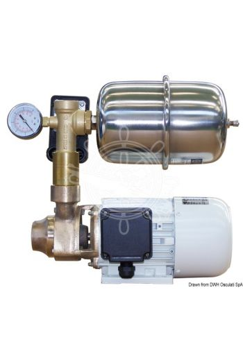 CEM fresh water pump with bronze body and accumulator tank (V: 24, Flow l/min: 36, Motor - HP: 0,65, Motor - W: 480, Motore - rpm: 3000, Motor - A: 22, Pressure switch se)