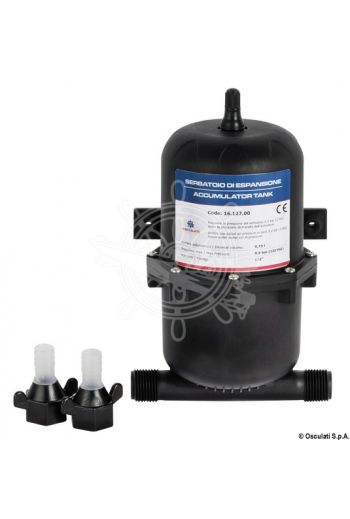 "Accumulator tank (Volum: 0,75 l, Max pressure: 8.6 bar, Fittings: 1/2"", Hose adaptors included: 2 to 13 mm)"