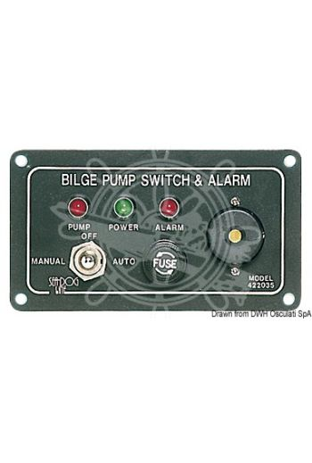 Panel switch for electric bilge pumps (Volt: 12, Measures: 120x65 mm)