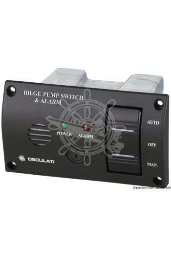 Panel switch with audible alarm for bilge pumps (Volt: 12/24, Measures: 120x68,5 mm)