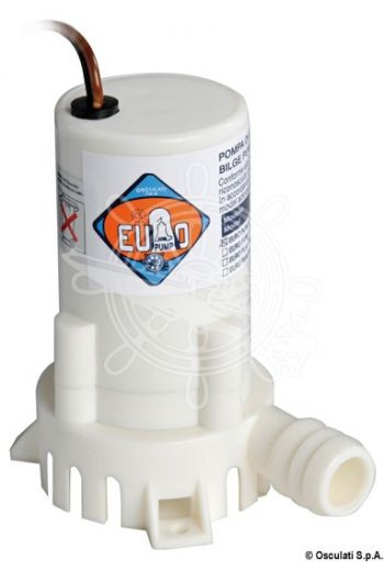 Europump bilge pump (Model: 300GPH, V: 12, Max flow l/min: 19 l/min, Current draw A: 2,0, Head: 1,5 m, Inlet Ø: 19 mm, Measures: 66)