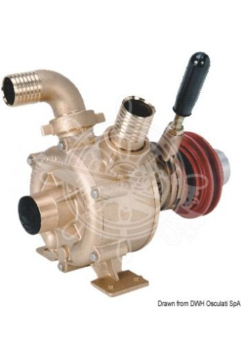 Bronze self-priming impeller pump with mechanically-activated clutch