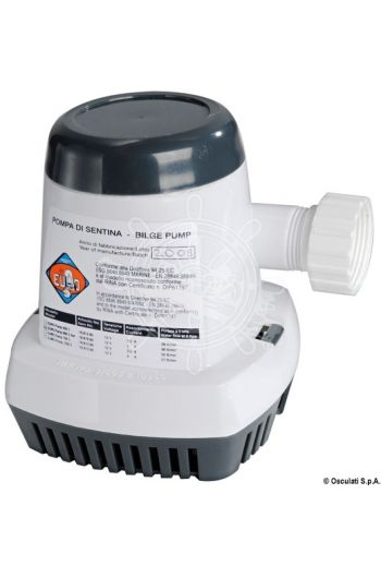 Europump 600 S automatic bilge pump (Model: 600S, V: 12, Flow max l/min: 38 l/min, Current draw A: 4,0, Head: 3 m, Inlet Ø: 20 mm, Measures: 120x13)