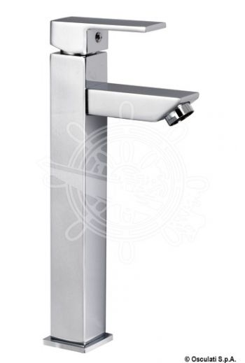Square tall mixer for toilet sink (for projecting sinks) (A: 140 mm, B: 35 mm, C: 45 mm, D: 271 mm)