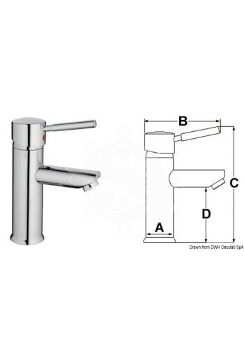 Diana mixer with ceramic cartridge for toilet sinks. (A: 48 mm, B: 130 mm, C: 200 mm, D: 45 mm)