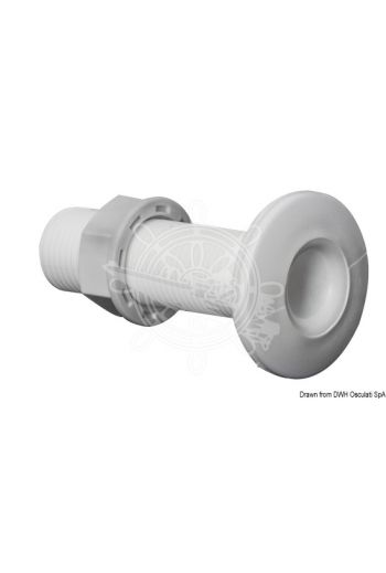 White plastic threaded seacocks