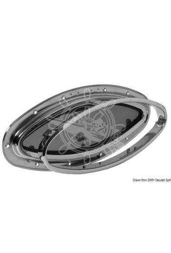 SCM elliptical portlight (Outside: 510x250 mm, Cut size: 460x200 mm, Net light: 420x160 mm, Hall thickness: 20/25 mm, CE approval - area)