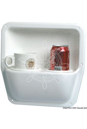 Glass/mug/bottle side holder. (Outside: 290x290 mm, Inside: 250x170 mm, Depth: 64 mm)