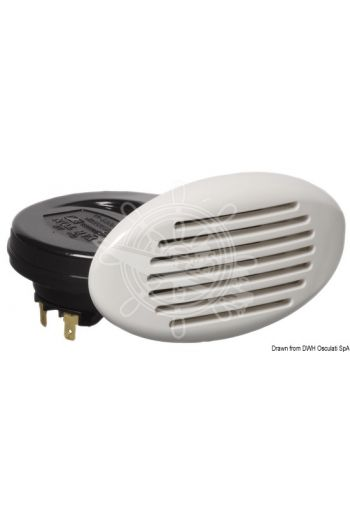 Flush-mount foldaway horn with spiral amplifier (Power: 112 dB, Frame mm: 141x79, Recess mm: 96x60, Inner size mm: 110)