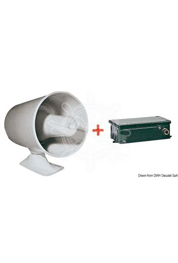 Powerful bitonal electric siren (Volt: 12, Hz frequency: 450/1000, Power: 120 dB ad 1 m, Protection: IP54)