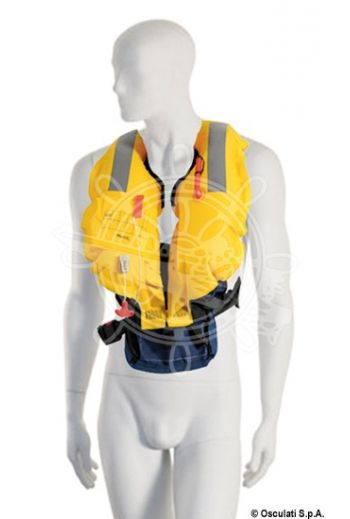 Belt-fixing self-inflatable lifejacket - 150 N (EN ISO 12402-3) (Description: Self-inflatable lifejacket, manual activation, Colour: Yellow/blue, Spare gas bottle (33 g): 22.)