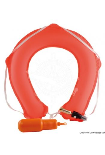 Throwing self-inflatable horseshoe lifebuoy (Plastic cover mm: 70x200, Lifebuoy in operation mm: 500x500)