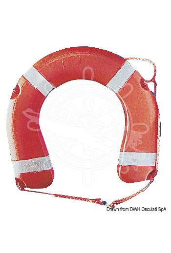 Horseshoe lifebuoy conforming to Ministerial Decree 385/99 (Ø cm: 35x60, OPTIONAL ABS case: 22.420.02, OPTIONAL support: 22.418.01)