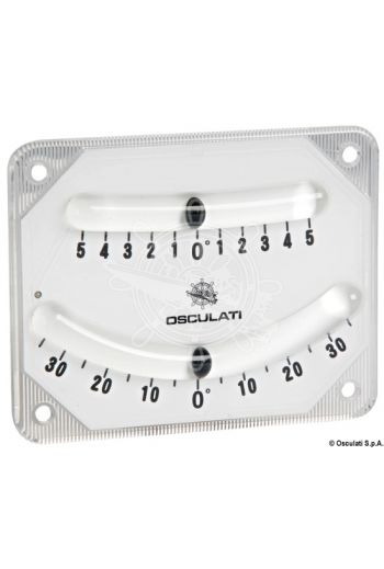 High precision double bubble inclinometer (Scales: 30°- 0° - 30° + 5° - 0° - 5°, Measures: 100x80, Mounting: 4 screws or with self adhesive label provide)