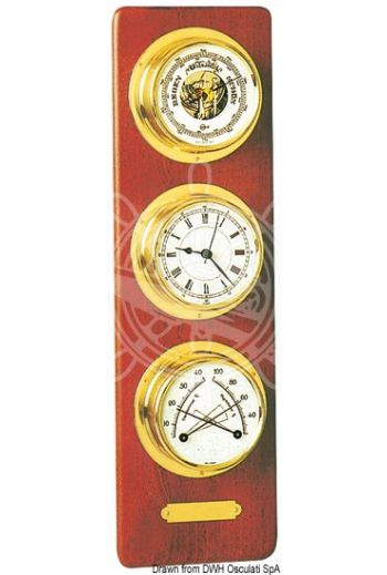Vertical mahogany board fitted with 3 instruments - BARIGO (Description: Instruments: barometer + quartz clock + thermo/hygrometer. Very fine finish, size 360x110 mm.)