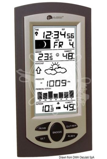LA CROSSE weather station with histogram (Measures: 117x31x227, Power: AAA batteries)