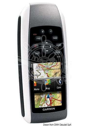 GPS MAP 78 (MOB: yes, Internal memory: 1.7 Gb, MicroSD card: OPTIONAL, Feeding: 16 hours with AA batteries, Measures: 6,6x)