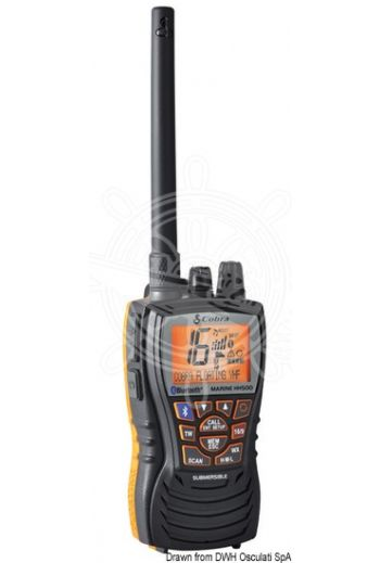 VHF Cobra Marine MR HH500 bluetooth - floating (Measures: 62x36x123 mm, Weight in g: 228)