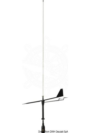 GLOMEX Supergain Black Swan VHF antenna (Length mm: 850, Base: right angle, Cable m: 20, Wind indicator: included, Color: black)