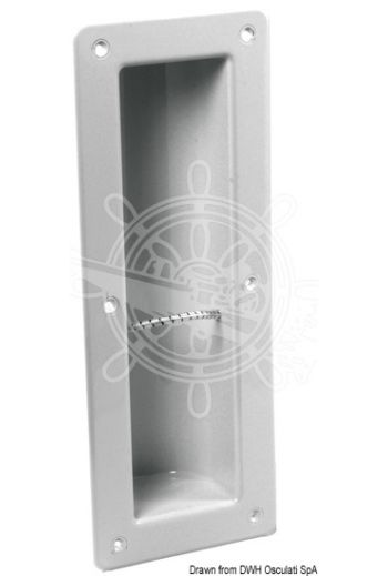 Recess-fit extinguisher compartment (Material: White ABS, Compartment mm: 85x340, Depth mm: 80, External frame mm: 150x410)