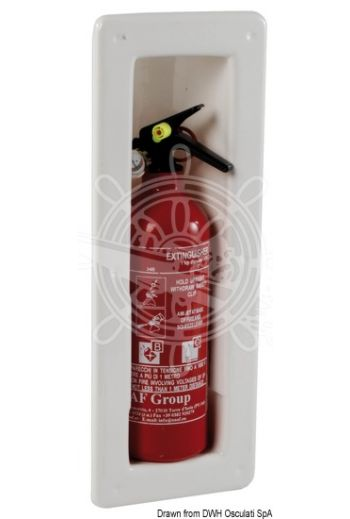 Extinguisher compartment snap in (Material: White ABS, Measures: 150x408, Depth mm: 81)