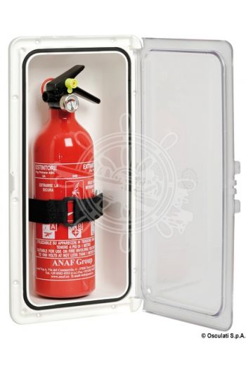Extinguisher compartment with door (External frame mm: 183x364, Recess size mm: 140x321, Depth under the frame mm: 75)